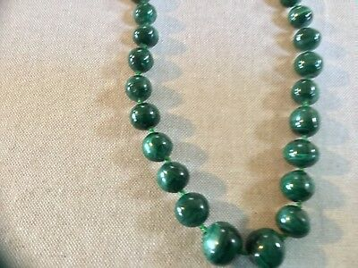 Vintage green malachite necklace round beaded strand Japan green beads asian