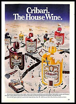 1979 Cribari Wine Vintage PRINT AD Color Drawing Winter Neighbourhood Bottles