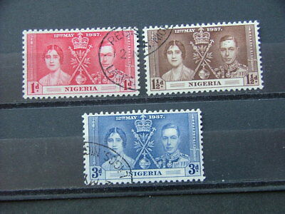 Nigeria KGVI 1937 Coronation Issue SG46-48 FU