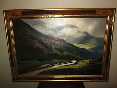 Original Oil Painting Listed Scottish George Melvin Rennie Sheep Scotland