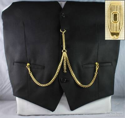 Double Albert pocket watch chain, solid-style belt clip; various finish options