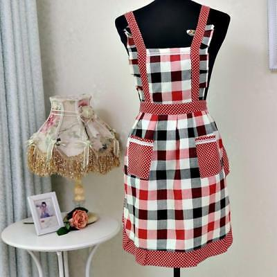 Women Lady Restaurant Home Kitchen Cooking Polyester Apron Bib with 2 Pockets