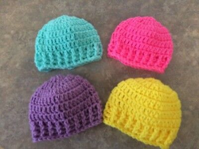 Crochet Newborn-3 Month Hats Beanie Set Lot baby Girl Photo Prop Shower Gift