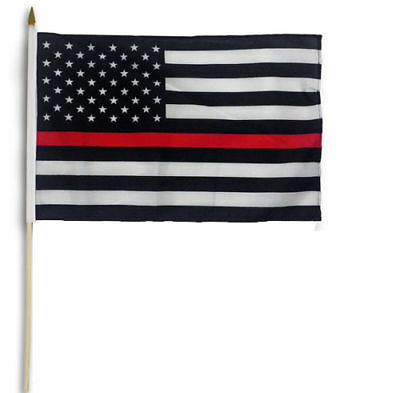 US American Thin Red Line Stick Flag 12x18in - Support Firefighters - Support FD