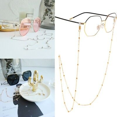 Metal Round Pearl Eyeglass Chain Cord Reading Glasses Eyewear Spectacles Holder