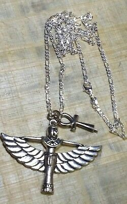 "Sterling Silver 925 Chain 28"", Isis Goddess of Marriage & Ankh Symbol of Power"