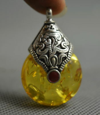 Collectable Handwork Decor Miao Silver Carve Totem inlay Petals Amber pendant