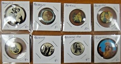 Christian Jesus Christ Virgin Mary Religious Pin Pinback Button Lot of 8