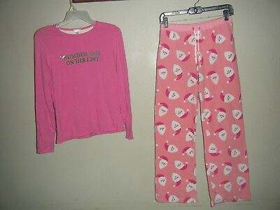 OLD NAVY CHRISTMAS Youth 16 L Large 2 Pc Pink PAJAMA SET Santa Claus Number One
