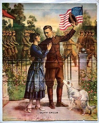 1917 WWI Duty Calls Patriotic Poster Soldier Saying Goodbye Going Off To War