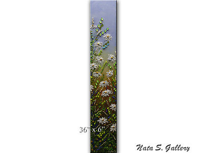 Wildflower Painting Palette Knife Art Original Vertical Wall Art by Nata S.