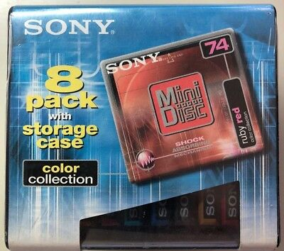 Sony Minidisc 8-pack with Storage Case 74min Color Collection - NEW