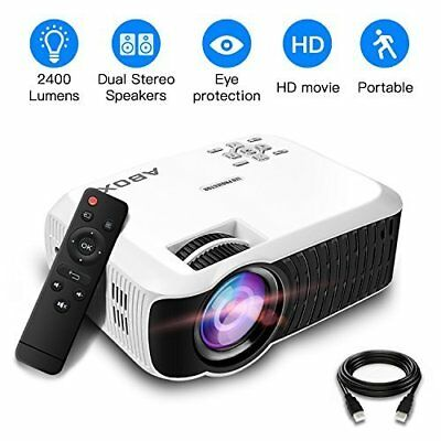 NEW!! ABOX T22 Upgraded 2400 Lumens Portable LCD Video Projector 1080p HDMI