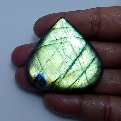Natural Green labradorite Cabochon Gemstone Heart 130.85cts.;#95663