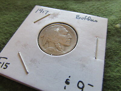 1917 Buffalo Nickel Indian Head Philadelphia Mint 5 Cent Bison Coin