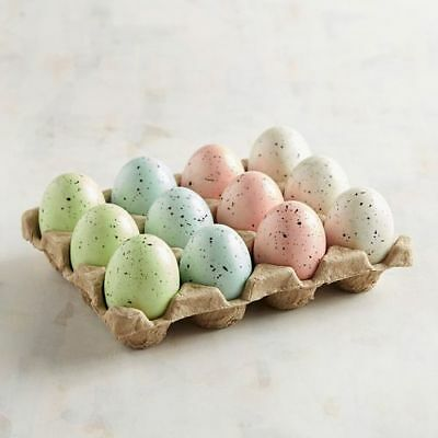 Pier 1 One Imports 12 Speckled Easter Spring Eggs Baby Shower Pink Blue Green
