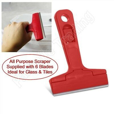 Glass and Tile Scraper [with 6 Blades] Remove Paint Silicone Stickers Decorators