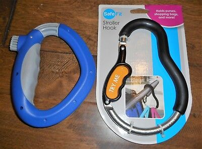 2 NEW Safe Fit Stroller hooks Jackets Bags Purse Holder Grocey Bag Carrier