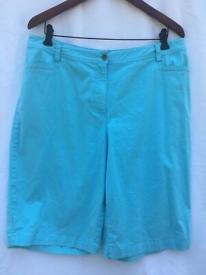 Chico's Women's Knee-lenght Flat-front Cotton Shorts - Turquoise - Size 2.5 EUC