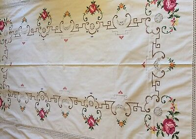 Antique Vintage Table Cloth hand embroidery and crochet - Large