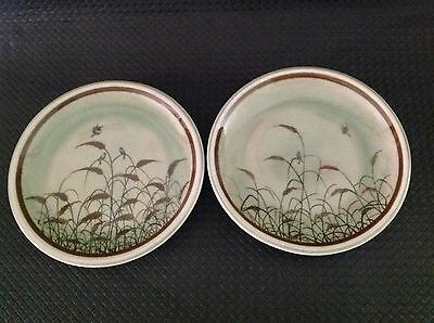 Celadon Siam Hand Made/painted Pottery 2 Plates, Reeds, Birds, Vintage 1978+