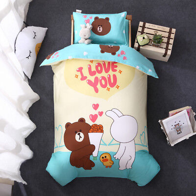 Line Town Cute New Baby Boy Girl Crib Cot Set Quilt Cover Padded Cotton Nursery
