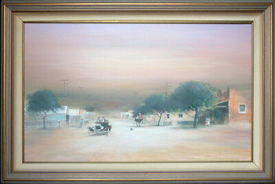 """Rex Newell (1939-2016) Original Oil Painting """"Main St Early Gosford"""" Large 141cm"""