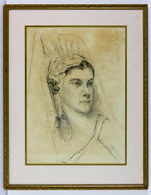Margaret N. Grischotti (act.1936-1939) - Charcoal Drawing, Portrait of a Woman