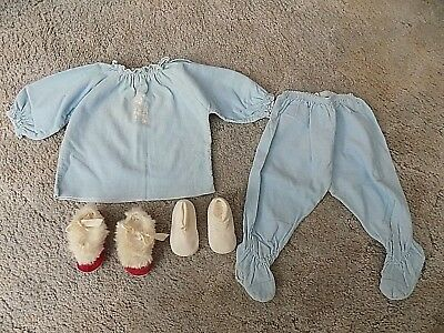 Vintage 1950s Infants Corduroy Sorbeau 2 Pc. Outfit/Slippers & Slipper Socks