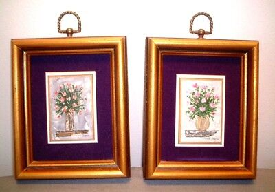 Original Mini Signed Oil Paintings In Gold Frame (pair)~Excellent condition
