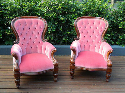Price Drop - A Pair Of Victorian Mahogany Spoon Back Library Armchairs