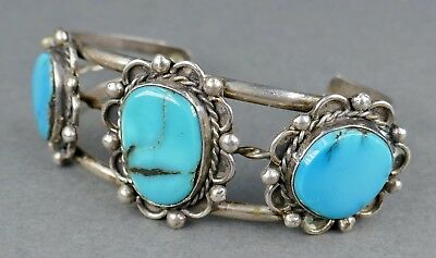 Fine Old 1970s Navajo Indian Sterling Silver Turquoise Stone Cuff Bracelet