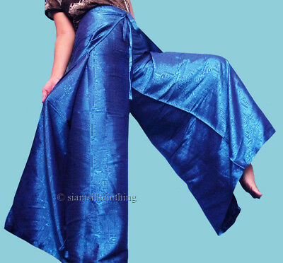 f4fdbdad80a Women s Fisherman Harem Pants Thai Silk Yoga Wrap Plus Size Hippie Blue  Trousers