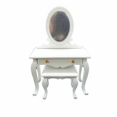 Dollhouse Furniture 1:12 Miniature Dresser Toilet Table Mirror Dressing Table