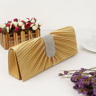New Women Satin Fold Clutch Bag Party Bridal Handbag Wedding Evening Prom Purse