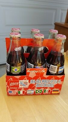 Coca-Cola World Cup USA 1994 Collector Series 6 Pack Countries Coke Bottles