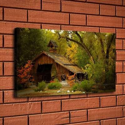 "12""x20""Cabin In The Woods Home Decor HD Canvas Print Picture Wall Art Painting"