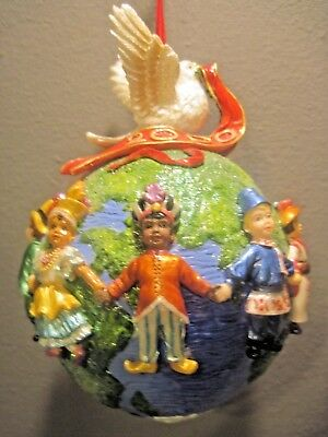 Christopher Radko United For Piece Christmas Ornament Children Holding Hands