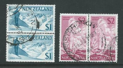 New Zealand 1967 $1 Glacier & $2 Geyser  Definitives Pairs commercially FU