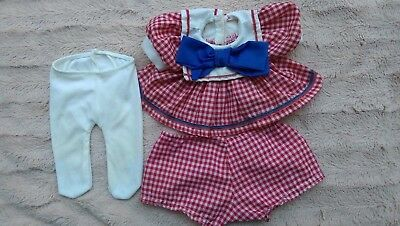 My Child Doll Clothes~HTF Original Red Check School Dress/Panties/Tights~Reduced