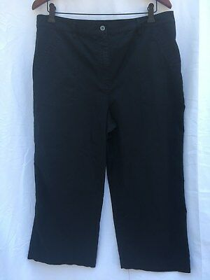 Chico's Women's Flat-front Cotton-blend Capris Pants - Black Size 3 - EUC