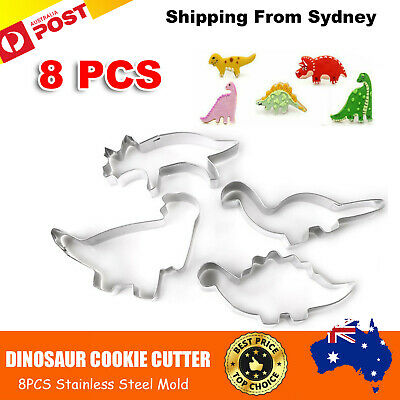 4Pcs Set Decorating Mold Dinosaur Stainless Steel Cookie Cutter Mold Chocolate M