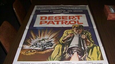 Vintage real machine gun Desert Patrol John Gregson WWII 1 Sheet Movie Poster