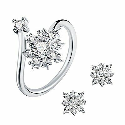 Jewellery Set Earrings and Resizable Ring 925 Sterling Silver 3A Cubic Zirconia