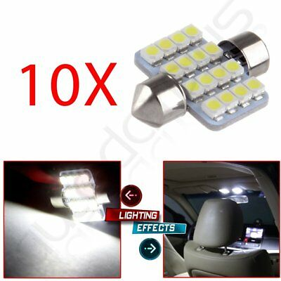 10X Super White 31MM 16SMD bulbs Festoon Dome Map Interior LED Light DE3175 3021
