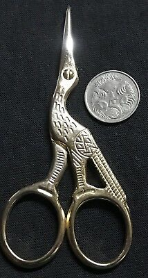 Pre Loved Little Bird Egret Craft Scissors Golden Colour Cuts Neat & Clean