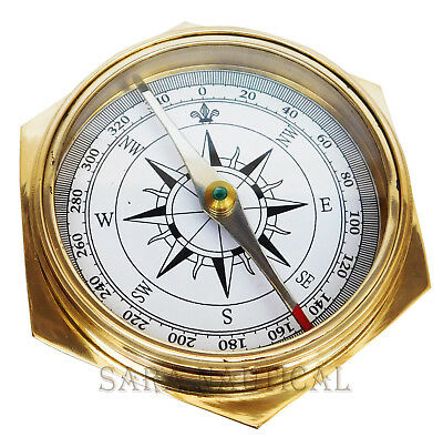 Marine Brass Pocket Compass Robert Frost Poem Solid Brass 1885 London Gifted