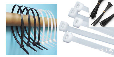 Black &White Nylon Cable Zip Ties Loop Tie Wire Self-Locking Strap Various size