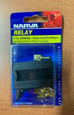 Mini Relay Base Connector Black, Brass Suits 4 & 5 Pins  NARVA 68084