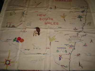 Vintage Linen Tablecloth ...hand Stitched ..nsw